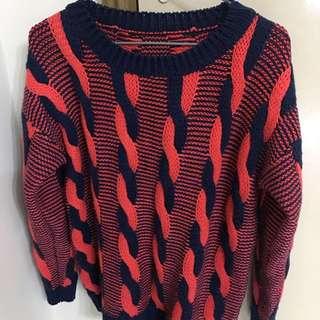 橙藍色針織衫