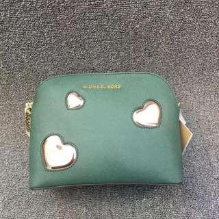 Michael Kors Mini Leather Pouch Green Bag