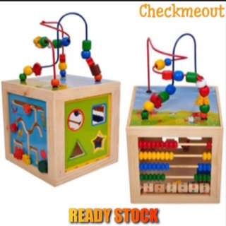 🌈READY STOCK🌈Kids Learning Wooden Multi Sides Beads