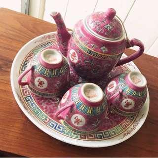 Vintage Pink Famille Chinese Tea Set