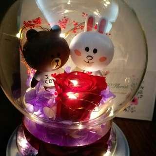 (情人節預訂)Cony & Brown Line Friends LED燈保鮮花🌹