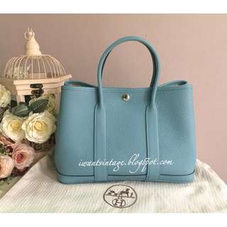 Hermes Garden Party 30 Bag-Blue
