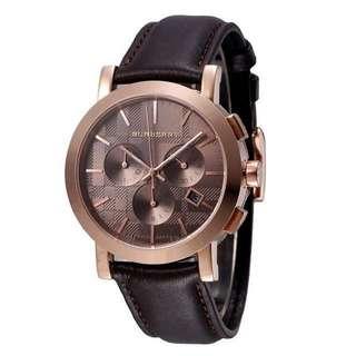 🆕Burberry Herringbone Men Leather  Watch