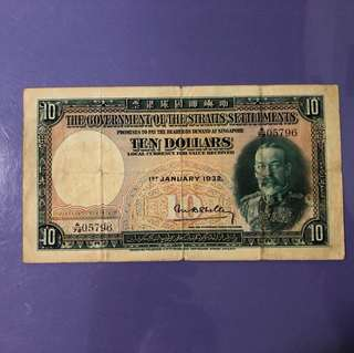 1932 Straits Settlements $10 Note