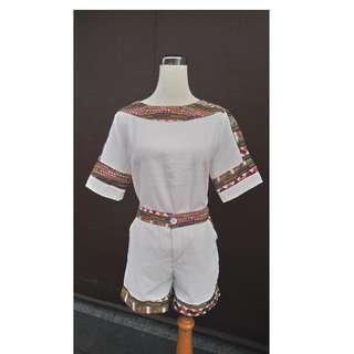新品白色短袖短褲套裝褲裝