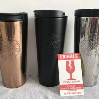 Starbucks Tumbler Original Etched Troy Stainless Steel Thermos Black Matte Doff Silver Gold Glossy