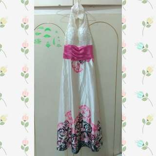 Dress putih pink bunga