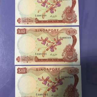 Singapore Orchid $10 x 3 Run Notes