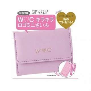 日雜附錄 Seventeen  WC熊 皮革粉色愛心 三折皮夾 短夾 零錢包 卡片夾 名片夾 收納包  銀包