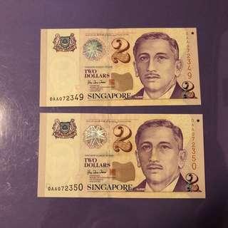 Singapore Portrait $1 x 2 Run OAA Notes