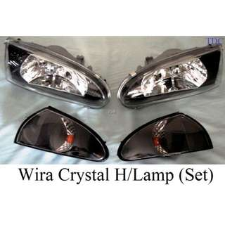 Wira ACC Crystal Black Headlamp + Angle Lamp Set