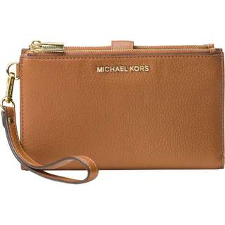 New Authentic MK Michael Kors Phone Double Zip Wallet with Wristlet Strap in Acorn Brown Pebble Leather