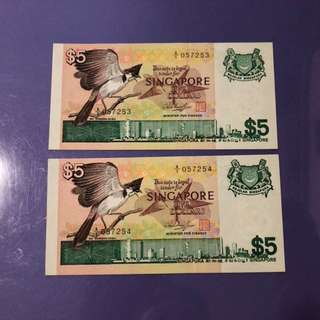 Singapore Bird $5 x 2 Run A1 Notes