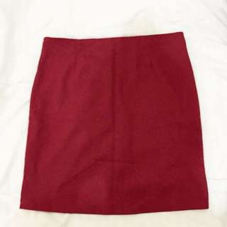 Deep Red Bandage Skirt with Suspenders