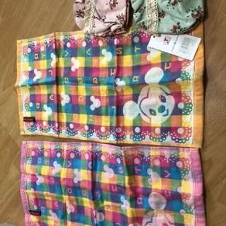 1 Mickey design face towel & 1 pouch