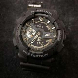 Casio G-Shock GA-110-1B GA-110 GA110-1B ga-110-1b 全黑 銀針 gshock