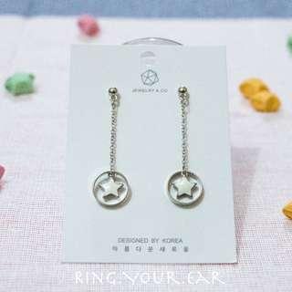 韓國耳環,新品,白色星星長耳環