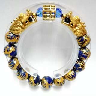 Dragons Lapis Gemstones (12mm) Bracelet with gold-plated stainless steel Abacus and Pixius Charms and blue crystals