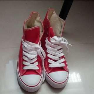 🚚 紅色 高筒 帆布鞋