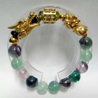 Triple Lucky Charms Bracelet : Fluorite Gemstones (12mm) Bracelet with gold-plated stainless steel Dragon, Abacus and Pixiu Charms with Crystals