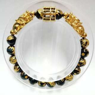 Dragons Blue Tiger Eye Gemstones (8mm)  Bracelet with gold-plated stainless steel Abacus and Pixius Charms