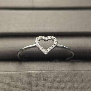18K 白金 鑽石 心形 戒指