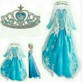 Gaun frozen gaun elsa dress anak