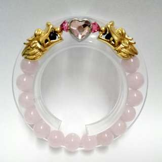 Rose Quartz Gemstones (10mm)  Bracelet with gold-plated stainless steel Dragons  Charms and Swarovski Pink Heart-shaped Crystal charm