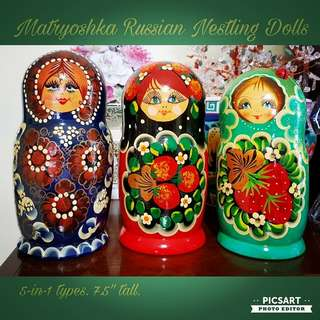 "Vintage Hand-Painted Russian Nestling Doll/ Matryoshka Doll. 5 smaller dolls in each set or 15 dolls altogether here. 7.5"" height. Good Condition and all colours intact. Each set $30 or all 3 sets for $75 offer! sms 96337309 for Fast Deal !"