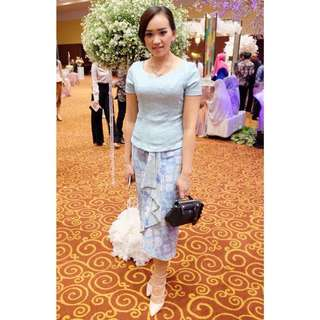 Blue Pastel Top & Batik Skirt
