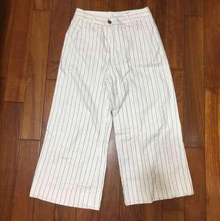條紋牛仔寬褲