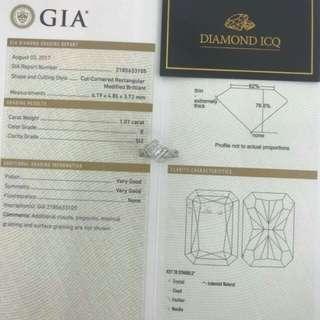 🎆 GIA證書 1.01卡 E色 SI2 特式長方鑽$27600 🎆 🛳 新返戒指款 #7469 🎩 細緻優雅 高貴盡顯