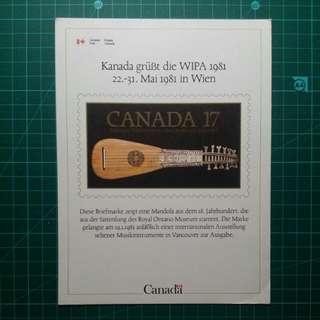 [均一價$10]1981 加拿大參與德國郵展 介紹卡