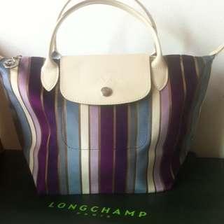 LongChamp Rainbow Stripes Small Tote Bag