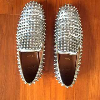 Louboutin Mens Dandelion Spikes Flat Silver Authentic