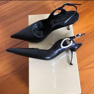 Sergio Rossi Black Leather Heels (34.5)