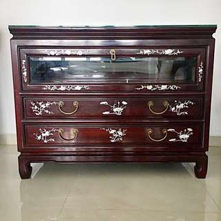 Genuine Rosewood Mother of Pearl TV Console / Chest of Drawers