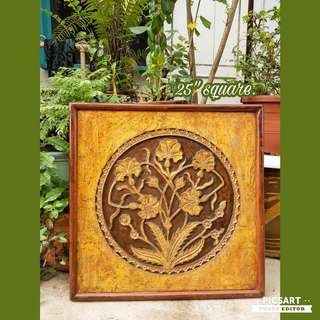 "Beautiful Vintage Wooden Hand-Carving of Golden Flowers. 25"" square, quite big. Good Condition. $80 rock bottom price clearance offer! Sms 96337309 for Fast Deal !"
