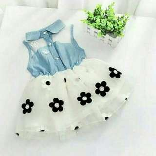 Gaun anak dress anak flower jeans