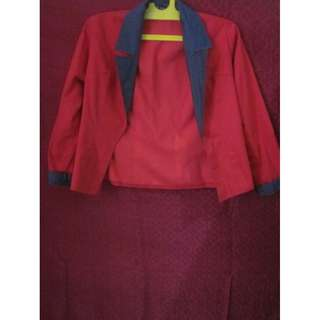 RED OUTER with polkadot pattren