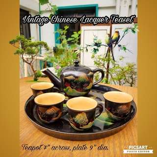 Rare Chinese Lacquer ware Teaset with hand-painted scenery, every tea cup is different. Year 1991, 27 years old. Good Condition. $68 offer! Sms 96337309 for Fast Deal !