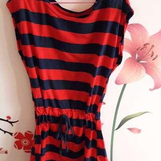 紅藍橫條洋裝(有鬆緊帶)