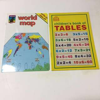 World map and multiplication table