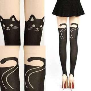 DANGERFIELD Cat Print Stockings