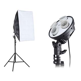 3-IN-1 PHOTO STUDIO KIT 4 LAMP HOLDER 2M LIGHT STAND 50 X 70CM SOFT BOX (EU PLUG) 70.00 x 20.00 x 18.00 cm