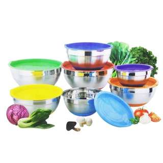 4-piece Stainless Steel Salad Bowl with Cover and Silicone Bottom Set(Multicolor)