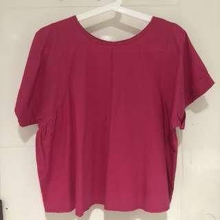 Baju atasan lengan pendek pink fuschia