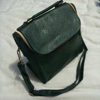 New leather bag green