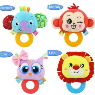 Baby Hand Hold Cute Animal Rattle Soft Plush Toy .