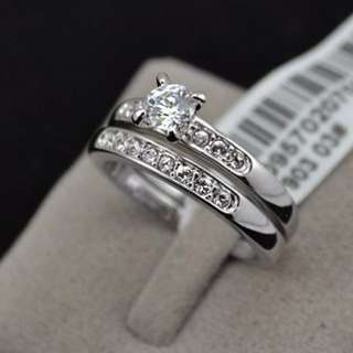 White Gold Plated 0.5ct Brillant with Pave Band Cubic Zirconia Ring